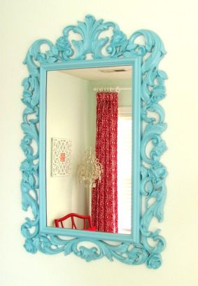 Vintage Upcycled Turquoise Blue Syroco Style Mirror