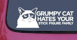 grumpy cat hates your stick figure family
